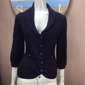 H&M Purple Cardigan Sweater 3/4 Sleeve Size XS